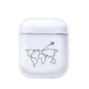 LAUGH LIFE Soft Earphone Case For Apple Airpods Case Cover Cute Map Trip Transparent Clear Luxury Earphone Case For Airpods Case