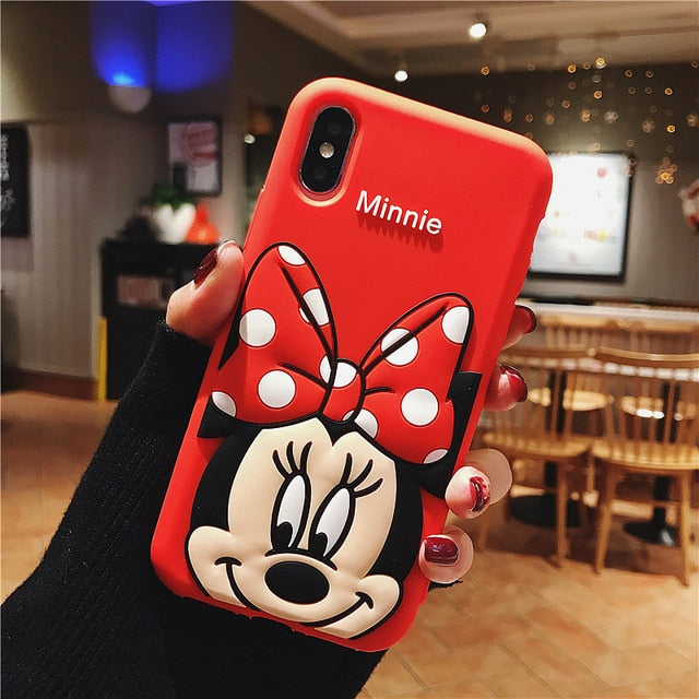 Cute 3D Cartoon Mickey Minnie Mouse Case For iPhone X XS MAX XR Phone Case For iPhone 7 8 6S 6 Plus Soft TPU Silicon Cover Coque