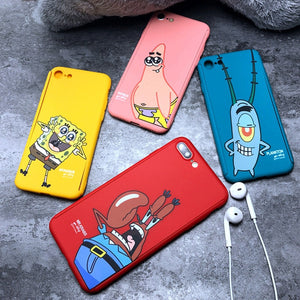 JAMULAR 360 Degree Full Body Protective Phone Case For iPhone 7 8 6 6s Plus Krabs Patrick Star Hard PC Back Cover Fundas Bag