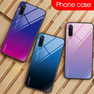 Stained Phone Case for Xiaomi Mi 9 SE 8 Lite A1 A2 6 Gradient Tempered Glass Case for Xiaomi Mi 9T Pro Mix 3 Max 2S Pocophone F1