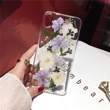 Load image into Gallery viewer, Qianliyao Real Dried Flower Cases For iPhone X XS Max XR 6 6S 7 8 Plus 11 Pro Max Case Handmade Soft Fresh Flower Phone Cover
