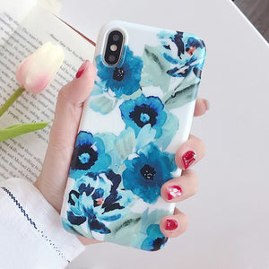 For iPhone 6s 7 8 Art Floral Flower Phone Case For IPhone X XS 7 7plus 8 8plus 6s 6 Soft Silicone Green Leaf Marble Cover case