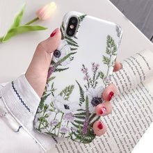 Load image into Gallery viewer, For iPhone 6s 7 8 Art Floral Flower Phone Case For IPhone X XS 7 7plus 8 8plus 6s 6 Soft Silicone Green Leaf Marble Cover case