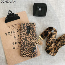 Load image into Gallery viewer, DCHZIUAN Fashion Leopard Print Phone Case For Samsung Galaxy Note 10 S8 S10 S9 Plus NOTE 8 NOTE 9 Case Luxury Cover With Lanyard
