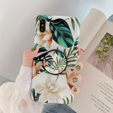 Load image into Gallery viewer, LOVECOM Retro Flower Leaf Strech Holder Phone Case For iPhone 11 Pro Max XR XS XS Max 7 8 6 Plus Case Soft IMD Phone Back Cover