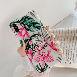 LOVECOM Retro Flower Leaf Strech Holder Phone Case For iPhone 11 Pro Max XR XS XS Max 7 8 6 Plus Case Soft IMD Phone Back Cover