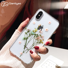 Load image into Gallery viewer, Qianliyao Dried Real Flower Cases For iPhone X XS Max XR Case Handmade Soft Cover For iPhone 6 6S 7 8 Plus 11 Pro Max Phone Case