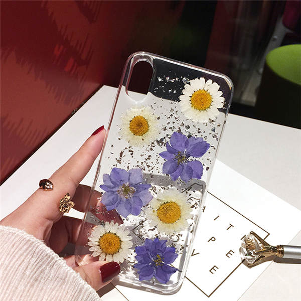 Qianliyao Dried Real Flower Cases For iPhone X XS Max XR Case Handmade Soft Cover For iPhone 6 6S 7 8 Plus 11 Pro Max Phone Case