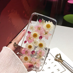 Qianliyao Real Dried Flower Cases For iPhone X XS Max XR 6 6S 7 8 Plus 11 Pro Max Case Handmade Soft Fresh Flower Phone Cover