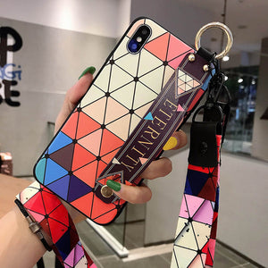 Fashion Plaid Style Wrist Strap Phone Case For iPhone X XR XS XS 6 6s 7 8plus 11 Pro Max with Lanyard Neck Strap Wrist Strap
