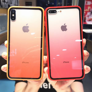 Rainbow Gradient Phone Cases For iphone 11 XS Max X XR XS 6 6s 7 8 Plus Acrylic Transparent Protective Cover For iPhone 11 Pro