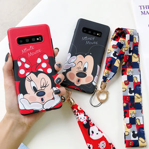 Silk scarf Lanyard Cartoon Soft Silicone Phone Cases for Samsung Galaxy S10 Plus S9 S8 Cover for Samsung Note 10 Plus note 9 8