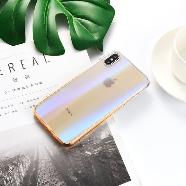 LYMOC Simple Gradual Laser Phone Case For iPhone 11 Pro MAX Glass Case for iPhone Xs Mas 7 8 Plus Shell Cover Diamond Glass Case