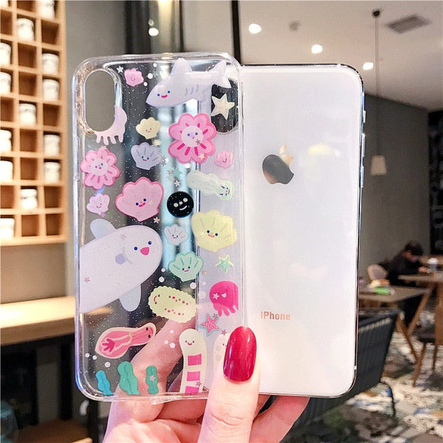 Sinocom Handa Cartoon Phone Cases For iPhone 11 case XS Max XR XS X 6S 7 8Plus Ultra-thin Soft TPU transparent clouds Back Cover