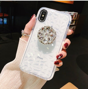 Luxury Glitter Diamond Soft Case For iPhone 11 Pro X XR XS Max 6 7 8 Plus 3D Bling Crystal Holder For Samsung S8 S9 S10 Note10 9