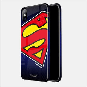 Luxury Marvel Avengers Tempered Glass Phone Case for iPhone 8 7 6 6s Plus 11 Pro XS MAX XR 10 8Plus Spiderman Batman Venom Cover
