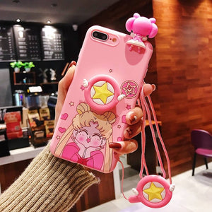 Cute Cartoon Sailor Moon Pink Phone Case For iPhone 11 Pro X 8 7 6s Plus XS Max XR Soft 3D Doll Toys Stand Lanyard Back Cover