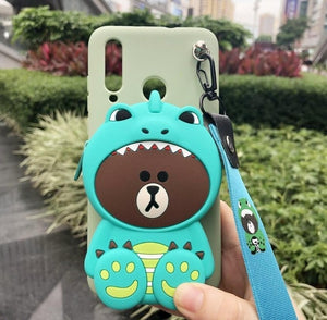ORYKSZ 3D Cartoon Anime Totoro Bear Lanyard Coin Purse soft phone case For iPhone 11 Pro Max 5G 6 6s 7 8 Plus X XR XS Max Cover