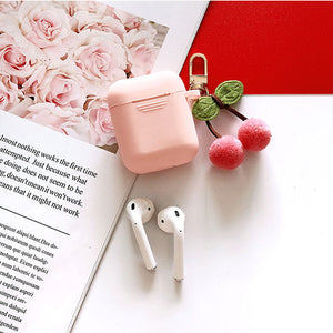 Cute Korean Silicone Case for Apple Airpods Case Accessories Bluetooth Earphone Cartoon Protective Cover Cherry Dog Key Ring