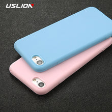 Load image into Gallery viewer, USLION Phone Case For iPhone 11 X 7 6 6s 8 Plus 5 5s SE XR XS 11 Pro Max Solid Color Ultrathin Soft TPU Case Candy Color Cover