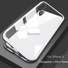 Load image into Gallery viewer, Luxury Magnetic Adsorption Phone Case For iPhone 11 Pro X Xs Max Xr 8 7 6 s Plus Metal Magnet Tempered Glass Flip Cover Capinhas