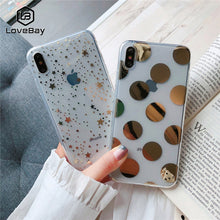 Load image into Gallery viewer, Lovebay Phone Case For iPhone 11 6 6s 7 8 Plus X XR XS 11Pro Max Electroplated Star Wave Point Clear Soft TPU For iPhone X Cover