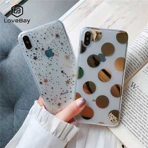 Lovebay Phone Case For iPhone 11 6 6s 7 8 Plus X XR XS 11Pro Max Electroplated Star Wave Point Clear Soft TPU For iPhone X Cover