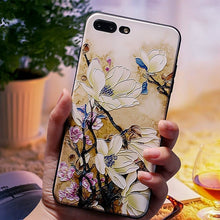 Load image into Gallery viewer, For iphone 6 7 8 6s Cover Case For iphone X XS 7 8 6 Plus Phone Case For iphone xs Case Cover Emboss flower Black Phone Case