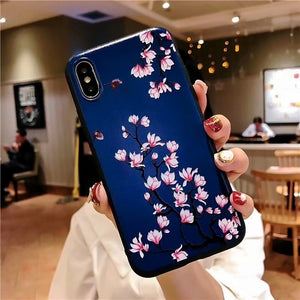 For iphone 6 7 8 6s Cover Case For iphone X XS 7 8 6 Plus Phone Case For iphone xs Case Cover Emboss flower Black Phone Case