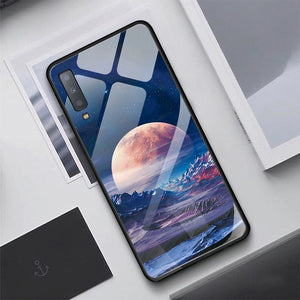 Luxury Tempered Glass Case For Samsung Galaxy S10 Plus S10e S9 S8 Note 8 9 10 Plus A7 2018 A70 Starry Sky Protective Back Cover