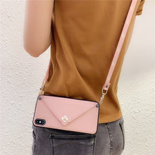 Load image into Gallery viewer, Credit Card Phone Case Wallet Crossbody Long Chain For iPhone 11 pro max 7 8 6s Plus X XR XS Max Camellia Back cover with strap