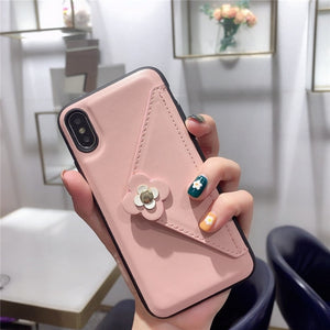 Credit Card Phone Case Wallet Crossbody Long Chain For iPhone 11 pro max 7 8 6s Plus X XR XS Max Camellia Back cover with strap