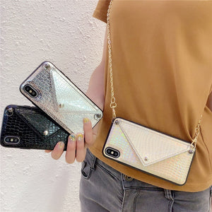 Credit Card Phone Case Wallet Crossbody Long Chain For iPhone 11 pro XS Max 7 8 6s Plus X XR Snake skin texture Cover with Strap