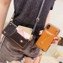 Load image into Gallery viewer, Crossbody Long Chain phonecase Credit Card Wallet Case For iPhone 11 pro max XR XS Max 7 8 6s Plus leather soft cover with strap