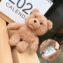 Load image into Gallery viewer, Winter Cute Plush Bear for Apple Airpods Case1 2 Teddy Bear Bags for Cartoon Headphones Case Box Brown Charms