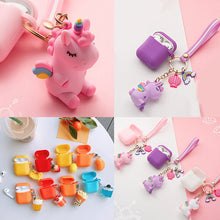 Load image into Gallery viewer, For AirPods Case cute with keychain unicorn /mini candy fruit Accessories Cases For Air pods 2 Silicone Wireless Earphone Case