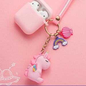 For AirPods Case cute with keychain unicorn /mini candy fruit Accessories Cases For Air pods 2 Silicone Wireless Earphone Case