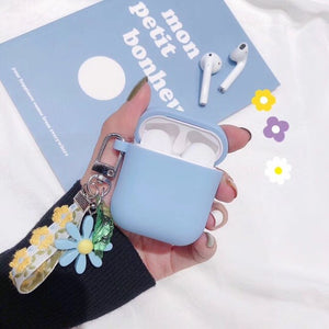 For AirPods Case luxury flower Hanging ornament with key ring Accessories Silicone Case Wireless Earphone Cover sFor Air pods 2
