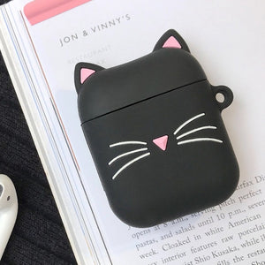 For airpods Case Cute Cat Cartoon Protective Cover with Lovely lanyard silicon cover For air pods 2 Wireless Earphone Case capa
