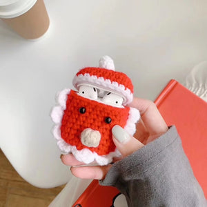 Cute Winter Christmas Earphone Cover for Airpods 1 2 Case Handmade Knitted Warm Headphone Cover Earphone Cases Fitted Gift Coque