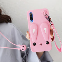 Load image into Gallery viewer, Adorable Phone Case For Xiaomi Redmi Note 7 MI 9 MI 9SE MI 8 Safe Silicone Rabbit Phone Case With Cute Short + Long Lanyard