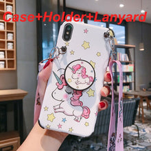 Load image into Gallery viewer, Anti-Knock Cartoon unicorn For iPhone X case XS MAX XR X 7 8 6 6S Plus Case soft silicon Cove Case coque with holder&Lanyard