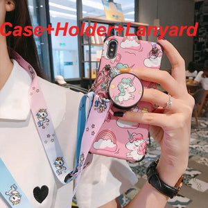 Anti-Knock Cartoon unicorn For iPhone X case XS MAX XR X 7 8 6 6S Plus Case soft silicon Cove Case coque with holder&Lanyard