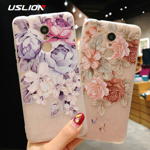 USLION 3D Flower Phone Case For Xiaomi POCOPHONE F1 8 8 SE 6 6X Mix 2 Redmi 6 6 Pro 4X 5A 4 5 Plus Note 4 5 4X 5A Soft TPU Cover