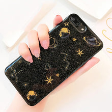 Load image into Gallery viewer, Shining Glitter Space planet phone Cases for iphone X XS XR XS Max 7 6 6S 6Plus 8 8Plus Transparent Soft silicon Case back cover