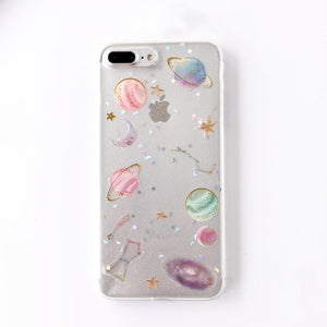 Shining Glitter Space planet phone Cases for iphone X XS XR XS Max 7 6 6S 6Plus 8 8Plus Transparent Soft silicon Case back cover
