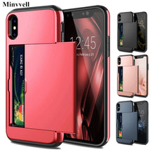 Load image into Gallery viewer, Armor Slide Card Case For iPhone X XS MAX XR 7 8 Plus 6 6S Card Slot Holder Cover For Samsung S9 S8 Plus S7 S6 Edge Note 9 Cases