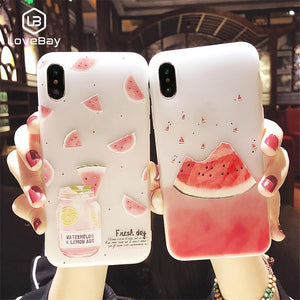Lovebay Phone Case For iPhone 6 6S 7 8 Plus X XR XS MAX 3D Relief Flower Flamingo Leaf Cat Dog Watermelon Soft TPU For iPhone 8