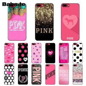 Babaite PINK VS Brand NEW LOVE PINK TPU Soft Phone Cell Phone Case for iPhone 8 7 6 6S Plus X XS MAX 5 5S SE XR Mobile Cases