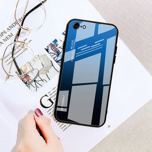 Gradient Tempered Glass Case For iphone 6 6S 7 8 Plus on the For iphone X XS XR XS Max Phone Cases Cover Protective Fundas